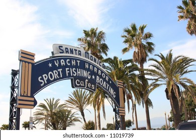 Famous Sign at Santa Monica Pier in Southern California