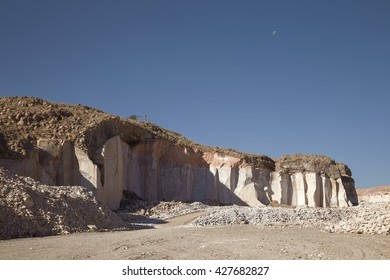 The famous sillar stone quarry, Peru. A light coloured volcanic rock used in many famous colonial buildings in Arequipa, leading to the name The White City.