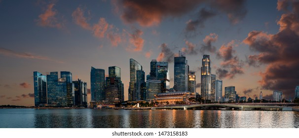 Famous Singapore Skyscrapers at Red Sunset