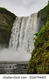The famous skogafoss waterfall in southern iceland in summer