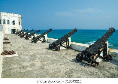 Famous slave trading fort of colonial times Cape Coast Castle with old cannons and white washed walls, Ghana, Africa