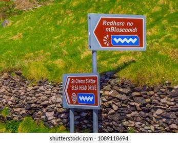 Famous Slea head drive on Dingle Peninsula - KERRY / IRELAND - MAY 5, 2018