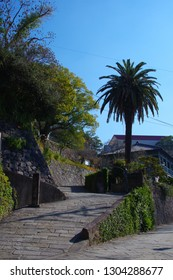 Famous slope in Nagasaki and Oranda slope in a blue sky background