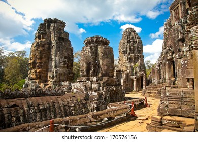Famous smile face statues of  Prasat Bayon temple at Angkor Thom, near Siem Reap, Cambodia.