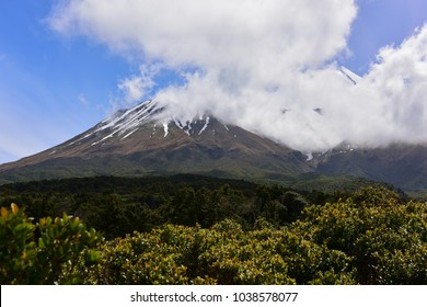 Famous snow capped Mount Taranaki in Egmont National Park, New Zealand