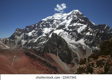 The famous South Face of Aconcagua, as seen from a neighboring peak. Aconcagua Provincial Park, Argentina. Aconcagua in the Andes Range is the highest mountain in South America.