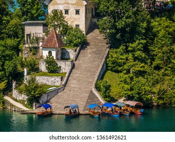 The famous south staircase, which bring happiness to just married couple, in Bled island