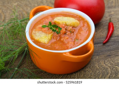 Famous Spanish Gazpacho tomato cold soup on the wood background