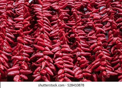Famous spicy red peppers decorating houses in the town Espelette, part of Basque country, France