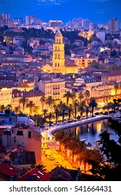 Famous Split waterfront evening aerial view, city in Dalmatia, Croatia