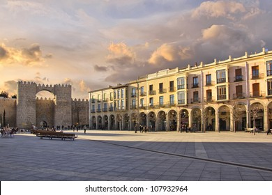 "famous square ""Plaza de Santa Teresa"" in Avila, Spain"
