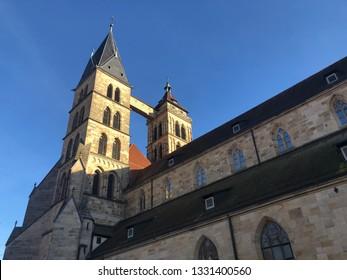 Famous St. Dionysius church at Market Square of Esslingen, Germany