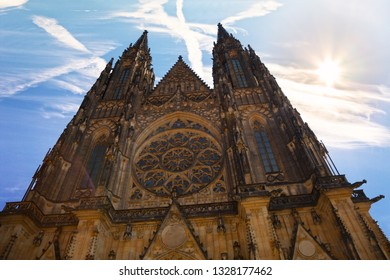 Famous St. Vitus Cathedral in Prague, Czech Republic.