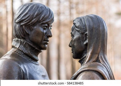 Famous Statue of Bae Yong-Joon and Choi Ji-Woo from Korean Television Drama Series Winter Sonata on Nami Island, South Korea