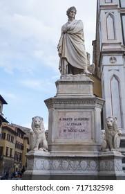 Famous statue of Dante Alighieri at Santa Croce Square in Florence