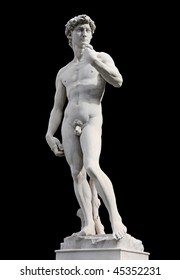 Famous statue of David by Michelangelo, isolated against black background. Renaissance sculpture in Florence, Italy.