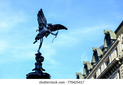 the famous statue Eros at Piccadilly circus, London, UK
