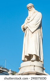 Famous statue of Leonardo Da Vinci in Milano (Milano) on Clear Blue Sky, Piazza della Scala