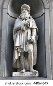 Famous statue of Leonardo da Vinci in Uffizi Gallery, Florence, Italy