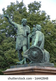 Famous statue of Minin and Pozharsky in front of Pokrovsky Cathedral on Red Square in Moscow.