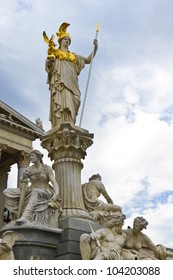 Famous statue of Pallas Athena in front of the Austrian Parliament in Vienna, Europe