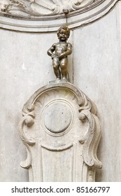 The famous statue of a pissing boy of Brussels, Belgium