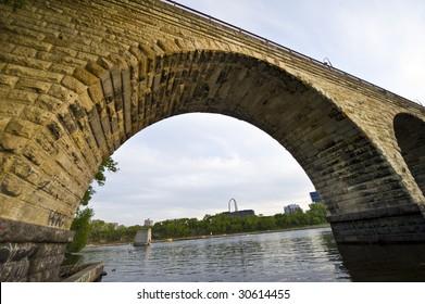 Famous Stone Arch Bridge in Minneapolis Minnesota