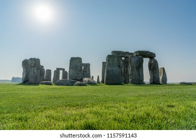 Famous Stonehenge, clear blue sky on a summer day