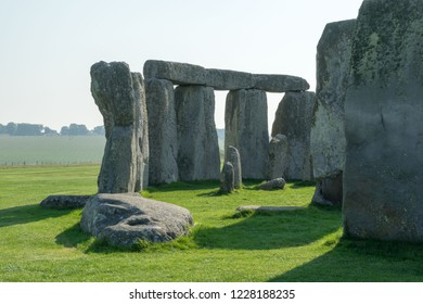 Famous Stonehenge on a sunny day, close up of several stones, in Wiltshire, England