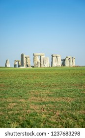 Famous Stonehenge on a sunny day, in Wiltshire, England