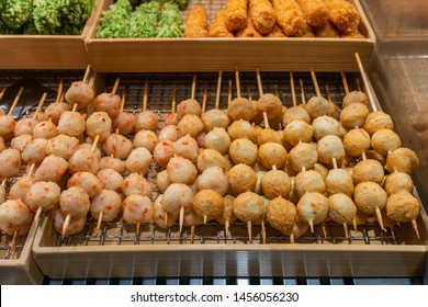 Famous street food fried fishball and meatball at night market