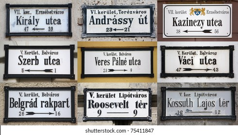 Famous street signs from Budapest
