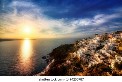 The Famous Sunset at the Beautiful Village of Oia on Santorini, Greece