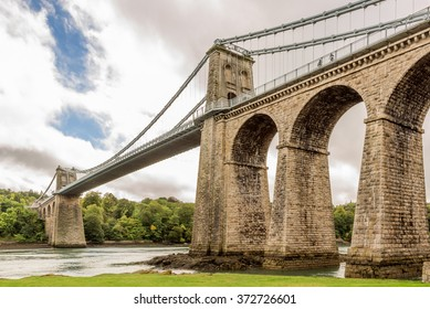 The famous suspension bridge over the Menai Straights between Wales and Anglesey