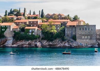 Famous Sveti Stefan (now Aman Sveti Stefan) - small islet and Luxury hotel resort in Montenegro, approximately 6 kilometers southeast of Budva. Europe.