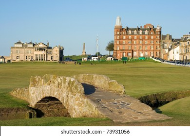 The famous Swilcan bridge on the 18th hole of the Old Course links in St Andrews, Scotland.