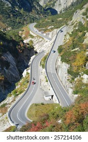 Famous swiss alpine road leading up to the Grimsel pass. It is the national cycle route 8 from Switzerland which is used at times for the Tour de Suisse.