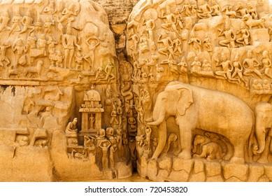 Famous Tamil Nadu landmark - Shore temple, world heritage site in Mahabalipuram,South India, Tamil Nadu, Mahabalipuram