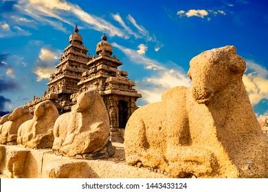 Famous Tamil Nadu landmark, UNESCO world heritage  - Shore temple, world heritage site in Mahabalipuram,South India, Tamil Nadu, Mahabalipuram