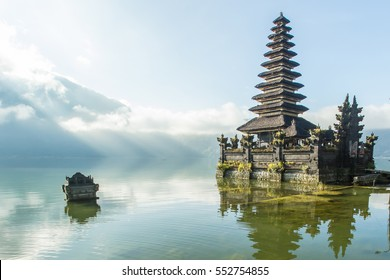 Famous temple near Gunung Batur volcano on Lake Batur Bali Indonesia.