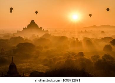 Famous temples in Bagan (UNESCO), Myanmar, Asia