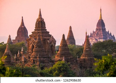 The famous temples of the Bagan valley in Myanmar, Asia taken in the warm light of the sunset