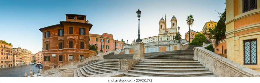 The famous terraced Spanish steps (1723) at first light leading to the church of Trinita dei Monti at the top of Pincio.