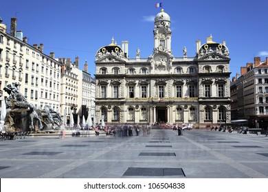 famous Terreaux square in Lyon city, France