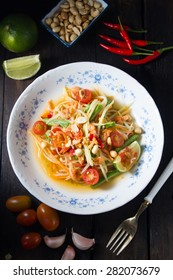 "Famous Thai food, papaya salad  ""Somtum"" in Thai"