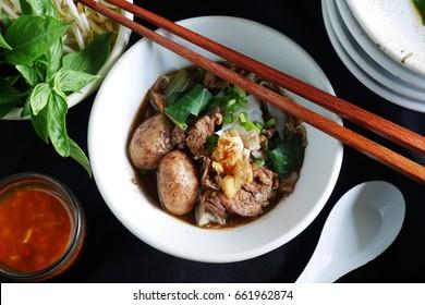 Famous Thai noodle soup  ,Thai style  noodle blood soup,boat noodle,delicious dish