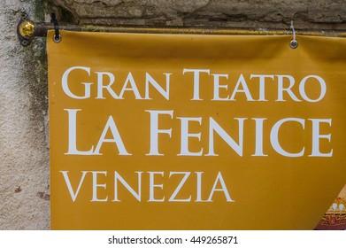 Famous Theatre La Fenice Venezia in Venice - VENICE, ITALY - JUNE 30, 2016