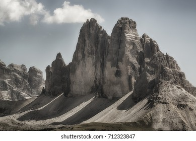 The famous Three Peaks of Lavaredo seen from the summit of Mount Specie in summer august afternoon, Dolomites - Italy