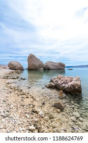 Famous three stones on the Beritnica beach on Pag island in Croatia, Europe