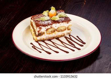 Famous Tiramisu cake served chokolate